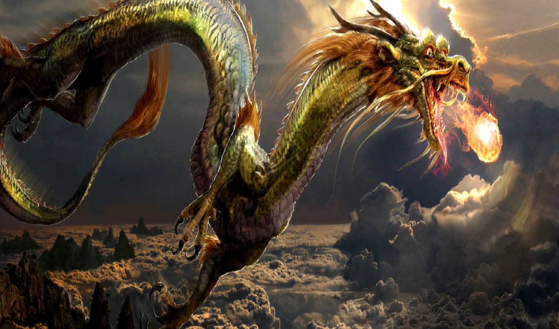 драконы, дракон, китаянка, зелёный,