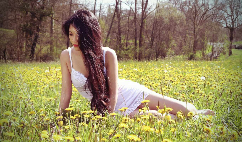 девушка, поле, одуванчик, stokovyi, white, сочетание, белье, азиатка, sit