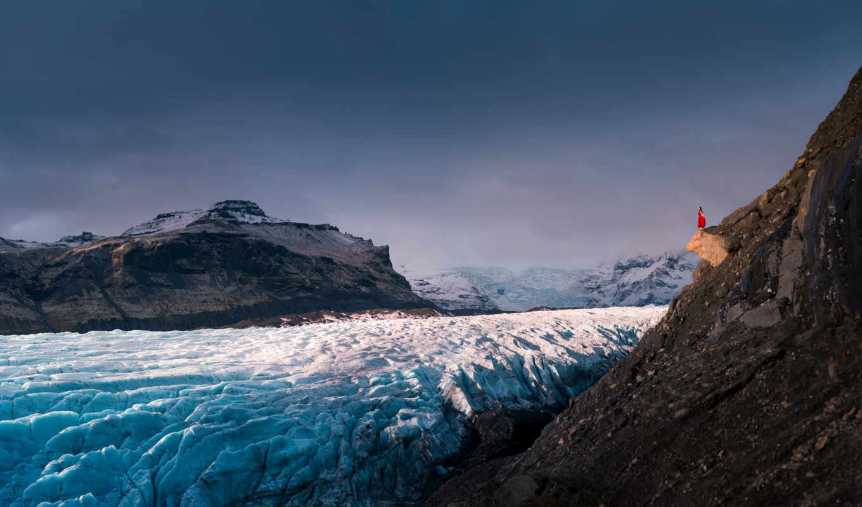 гора, landscape, девушка, природа, лед, glacier, rock