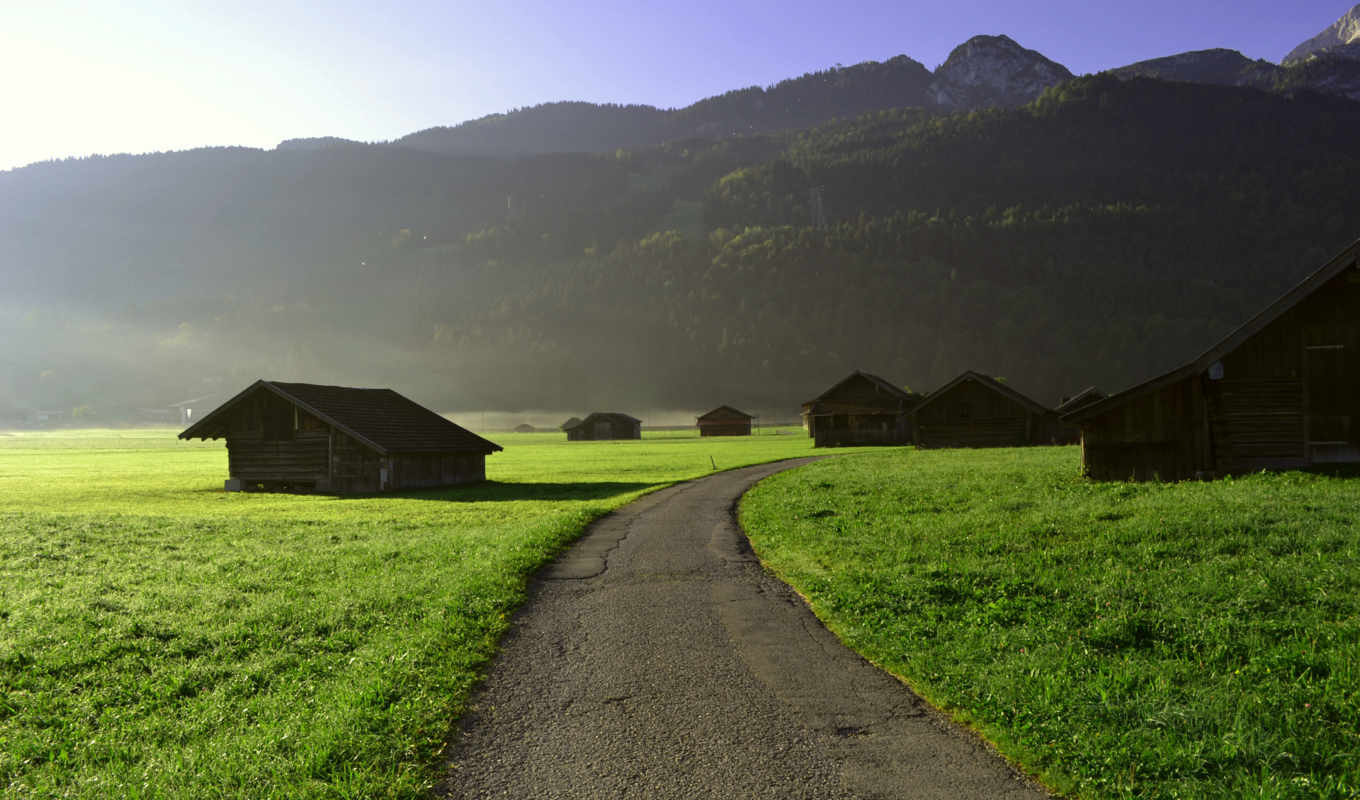 , mountains, nature, house, country,