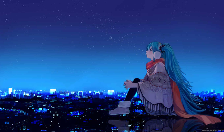 хатсуне, мику, вокалоид, anime, девушка, ночь, звезды, picture, город, огни, дома, vocaloid, episode,