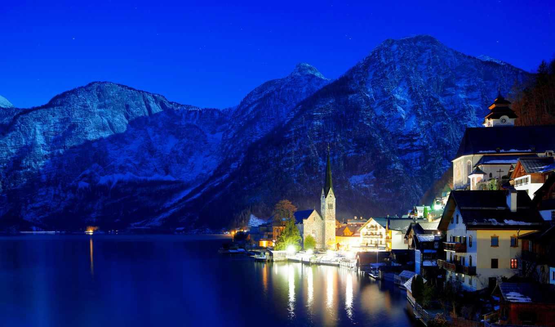 город, ночь,горы, освещение,