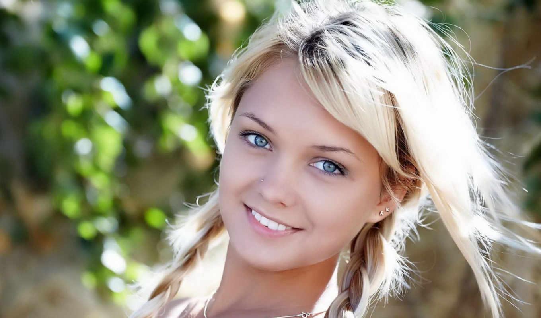 блондинка, девушка, блондинки, красивая, улыбка, ни, косички,