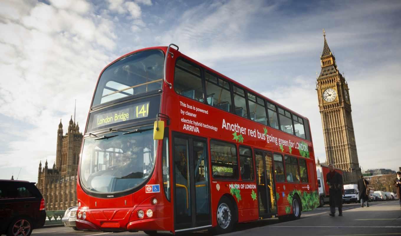 автобус, двухэтажный, британии, символы, англии,