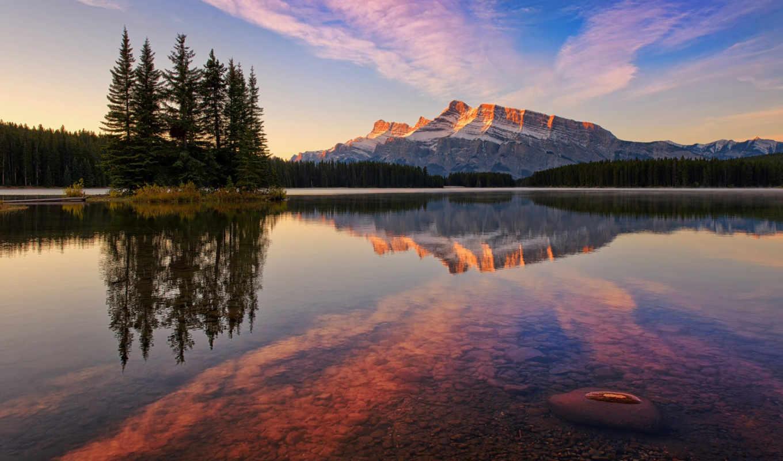 озеро, jack, канада, park, national, banff, дек, горы, лес,