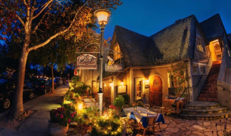 carmel, house, ресторан, море, песочница, architecture, ночь