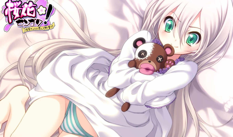 panties, sengoku, ouka, underwear, white, striped, eyes, apricot, green, hair,
