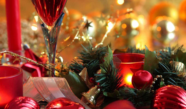 год, новый, рождество, праздник, свечи, шарики, красный, картинка,