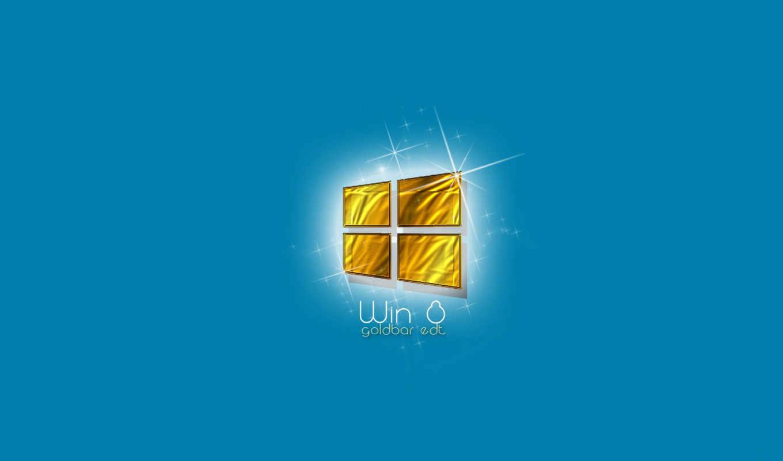 windows, eight, лого, золотой, окно