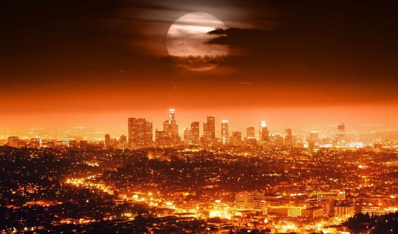 los, angeles, сша, ночь, android, iphone, огни, луна, город,