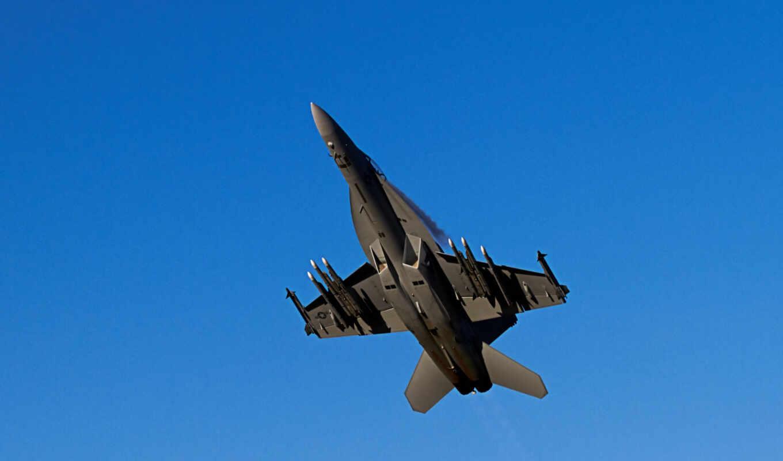 небо, картинка, самолёт, истребитель, оружие, ракеты, military, hornet,
