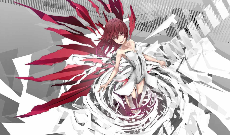 red, hair, eyes, аниме, изображение, original, wings, фабрика, картинок, picsfab,