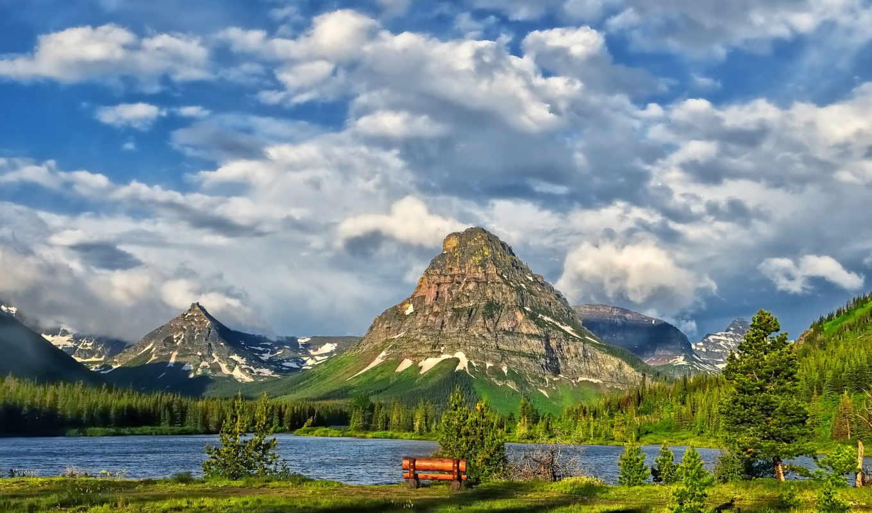 glacier, озеро, park, national, горы, природа, парки, облака, usa,