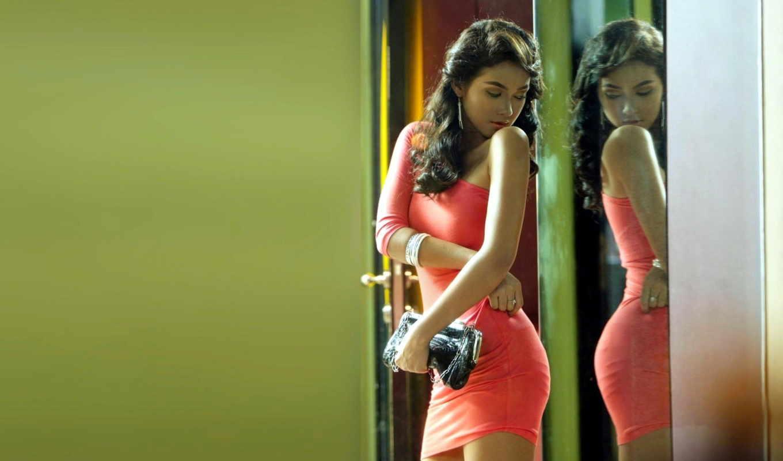 девушка, зеркало, отражение, девушки, красном, платье,