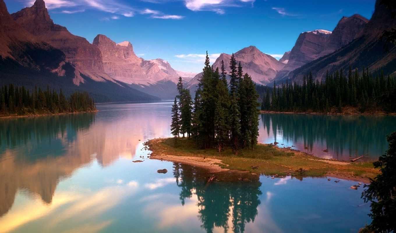 озеро, горы, природа, деревя, остров, лес,