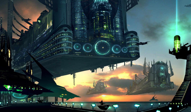 art, будущее, fantasy, корабли, город, технологии,