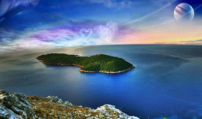 ocean, природа, остров, water, красивые, oblaka, planet, скалы, виде, мар, море,