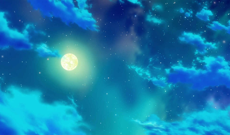 ночь, луна,скачать обои, аниме