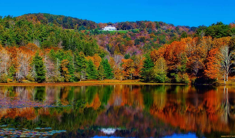лес, река, озеро, деревья, дом, пейзаж, осень, картинка, особняк, картинку, отражение,
