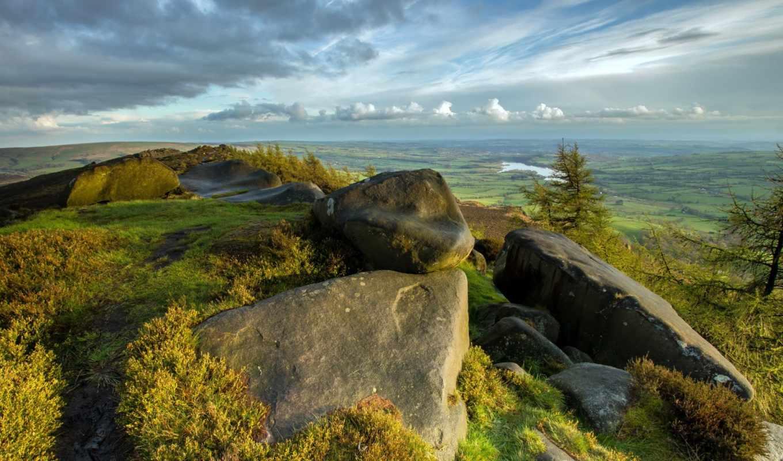 небо, гора, пейзаж, долина, камни, картинка,