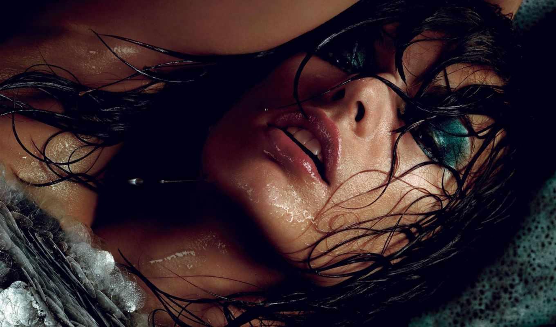 мокрая, milla, волосы, девушка, jovovich, знаменитости,