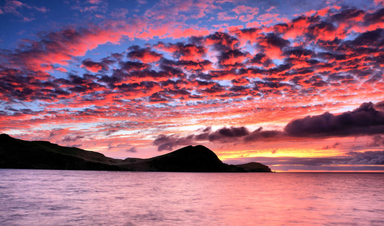 море, горы, закат, небо, силуэт,
