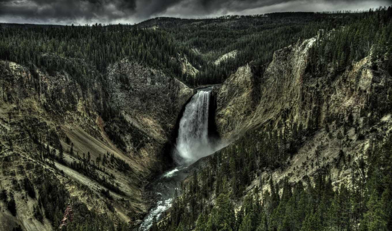 yellowstone, река, lower, falls, park, national