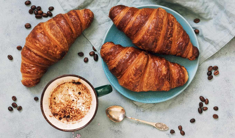 завтрак, coffee, cup, табличка, lozhok, напиток, seed, kruassana