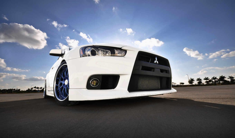 mitsubishi, lancer, evo, машины, автомобили, авто, white, cars, roadster, full, wheels, desktop, evolution,