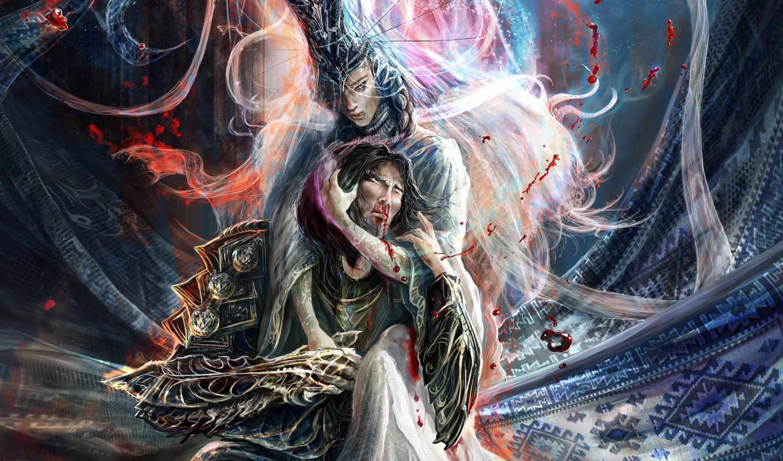 кровь, воин, ведьма, смотрите, art, фэнтези, altinoz, ertac, рисунок, доспехи, еще, другие, картинка, сборник,