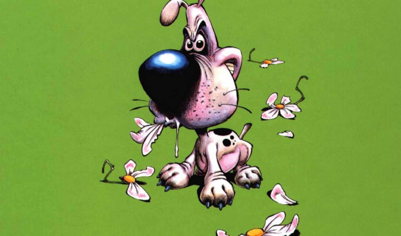 нарисованные, пес, злой, цветок, funny,