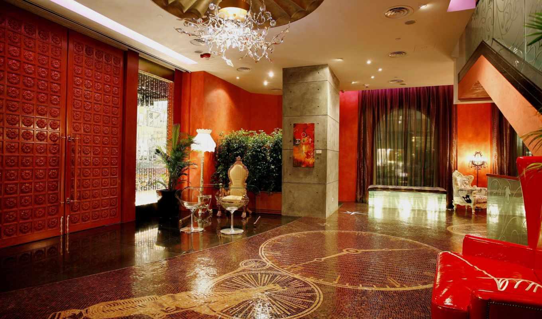 холл, интерьер, мебель, рисунок, Мозаика, люстра,