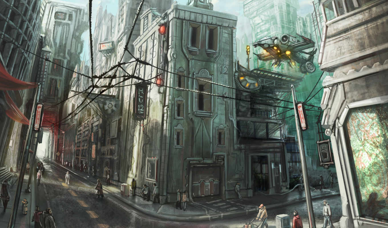 art, будущее, город, корабль, люди, улица, провода, фэнтези,