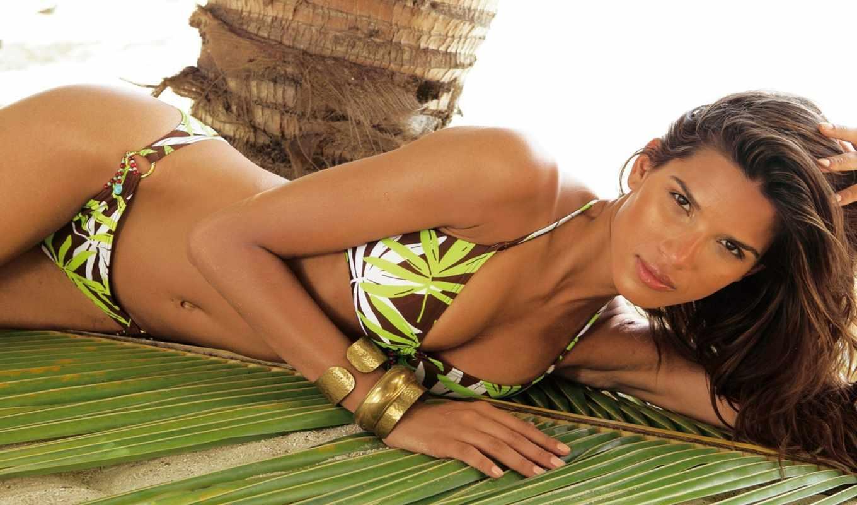 девушка, пляж, девушки, купальник, пальмы, raica, oliveira, девушек, лежит, лист,,