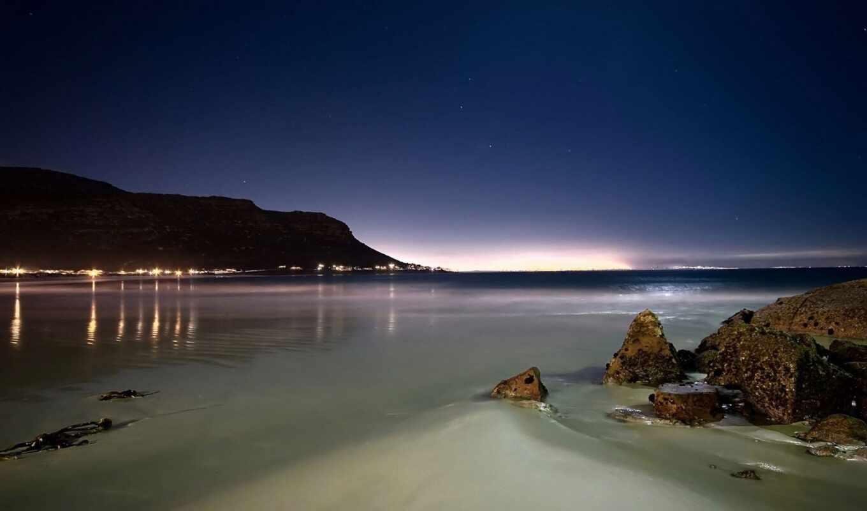 пляж, ночь, landscape