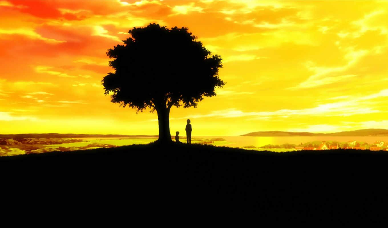 Ef, история мелодий, дерево, закат, природа, фото,