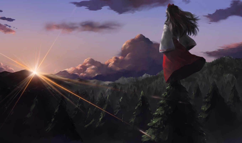 обои, лес, гора, девушка, закат, аниме, тучи, hd,