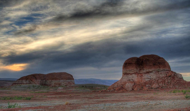природа, sun, горы, небо, изображение, пустынной, местностью, над, skies,