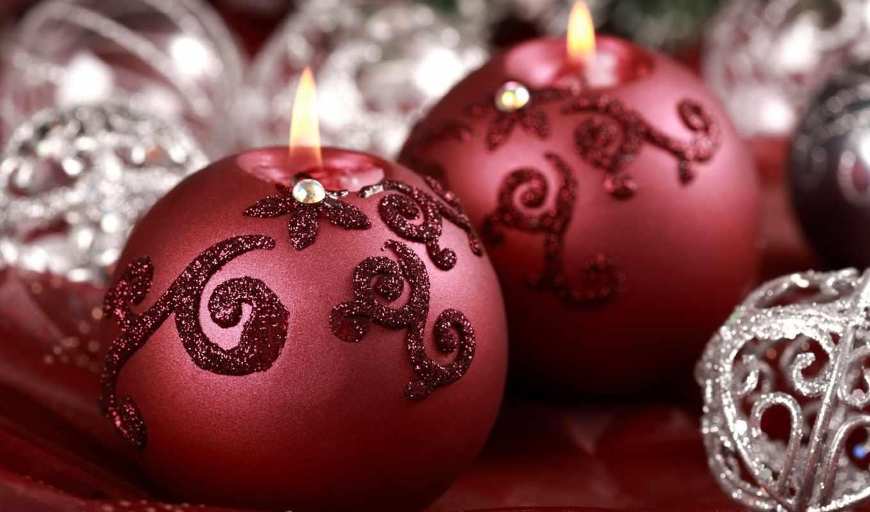 свечи, праздник, год, новый, макро, шарик, блестки, украшения, красный, серебряный, игрушки, горящие,