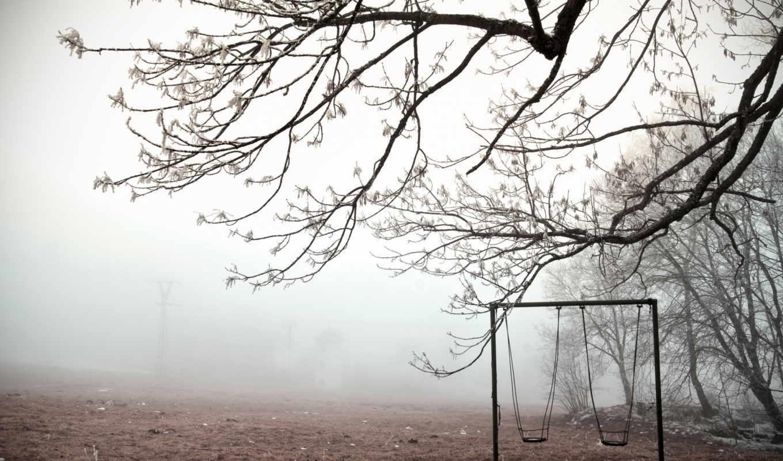 качели, туман, зима, картинка,