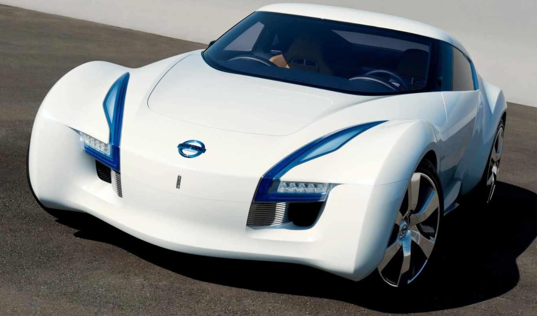 nissan, esflow, concept, дизайн, машины, форма, цвет, белый, диски, фары, автомобили, авто, der, sports, car,
