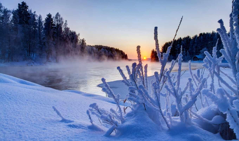 закат, природа, clouds, небо, sun, winter, облака, снег, landscape, белые,
