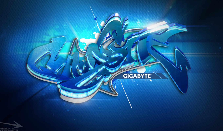 gigabyte, лого, граффити, синий