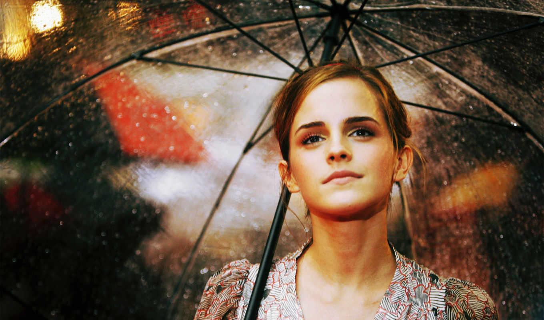 полуулыбка, emma, watson, дождь, зонтик, актриса, свет, взгляд, задумчивость,