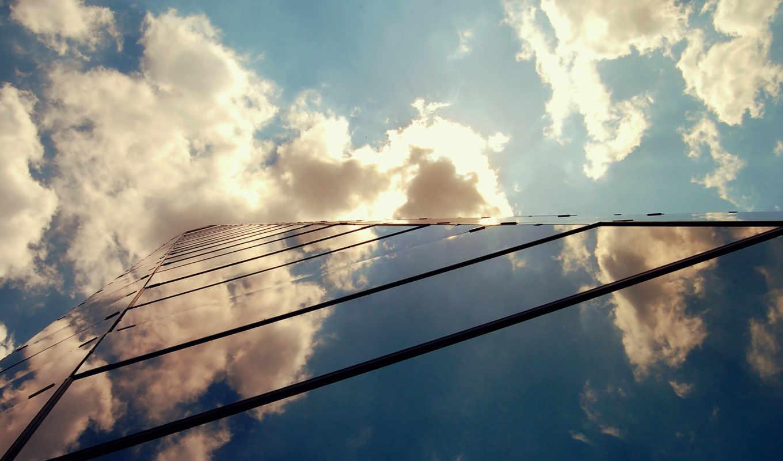 building, небоскрёб, небо, oblaka, темы, разные, glass, города,