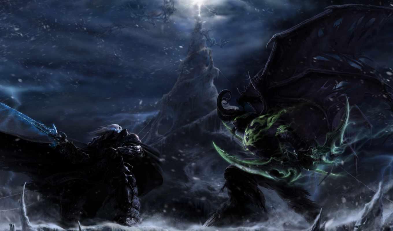 warcraft, iii, frozen, трон, arthas, нов, иллидан, versus, king, batlle, бой,