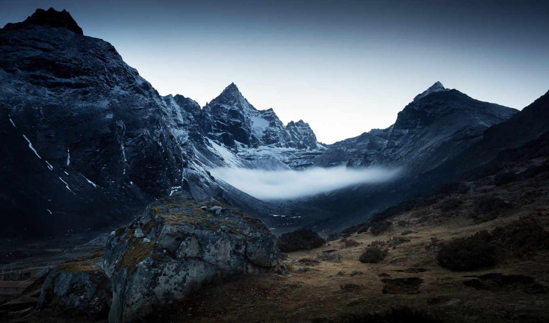 серость, мрачные, кусты, пики, гора, горы, ipad,