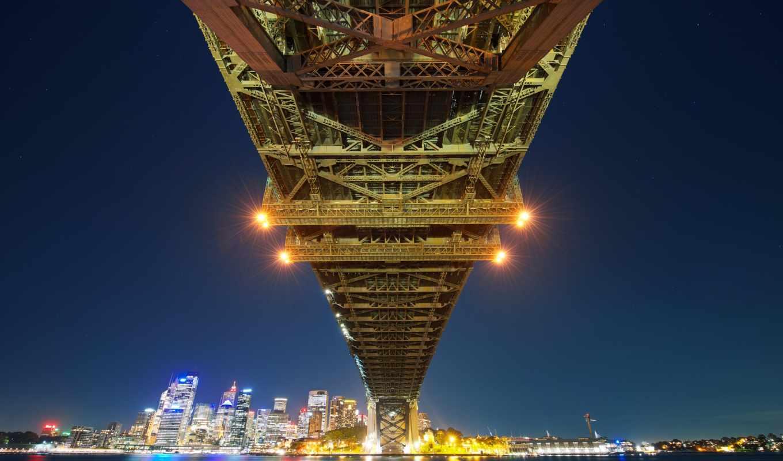 sydney, мост, bay, город, города, австралия,