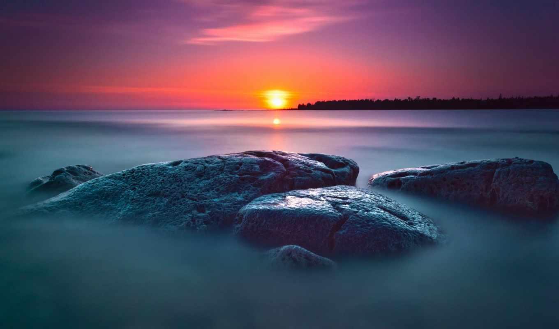 природа, закат, море, камни, sun, пейзажи -, assault, битва, ocean, огонь,