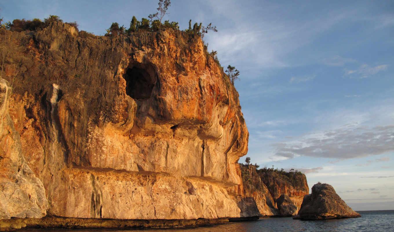 пещера, пейзажи -, rock, красивые, бесплатные, вечер, озеро, oblaka, blue, море, прибрежная,